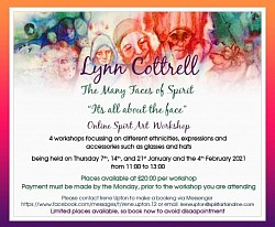 Next online workshops Jan + Feb the many faces by Spirit by Lynn Cottrell
