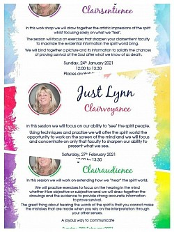 Next online workshops Jan + Feb based on 3 of the 'Clairs' for the members of Lynns Creative Family.