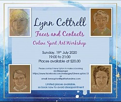 July2020 Online Spirit Art Workshop FACES AND CONTACTS - automatic drawing by Lynn Cottrell