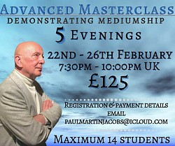 Next online Masterclass Febr Demonstrating mediumship by Paul Jacobs