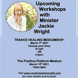 Next online workshops March Trance Healing + Platform Medium by Jacky Wright